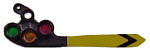 Tomar 6066 HO Signal Head Only Upper Quadrant Semaphore Pointed Blade 3-Color w/Front Painted Yellow w/Black Stripe